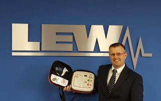 Steve Lamb with defibrillator