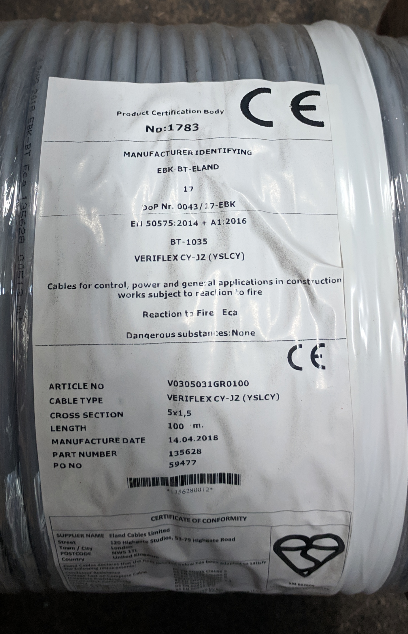 Construction Product Regulations Cable Label