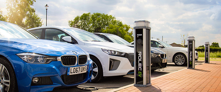 Rolec EV charge public charge point hooked up to electric vehicles